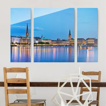 Quadro in vetro - Hamburg Skyline - 3 parti