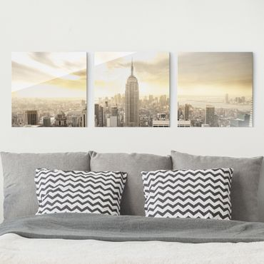 Quadro in vetro - Manhattan Dawn - 3 parti