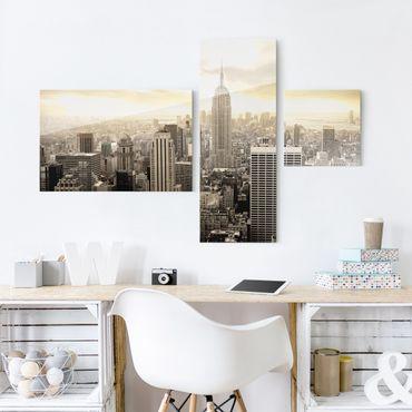 Quadro in vetro - Manhattan Dawn - Collage a 3 parti