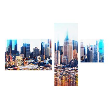 Quadro in vetro - Manhattan Skyline Urban Stretch - 4 parti