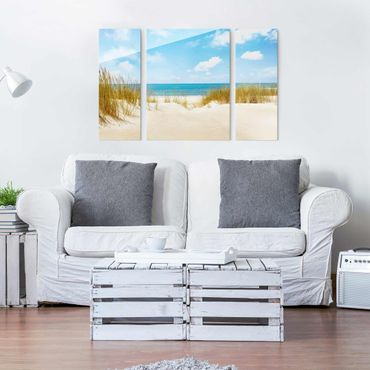 Quadro in vetro - Beach at the North Sea - 3 parti
