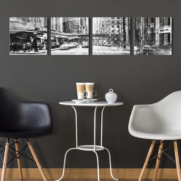 Quadro in vetro - NYC Urban black-white - 4 parti