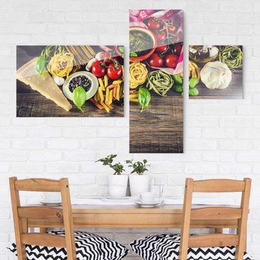 Quadro in vetro - Pasta - Collage a 3 parti
