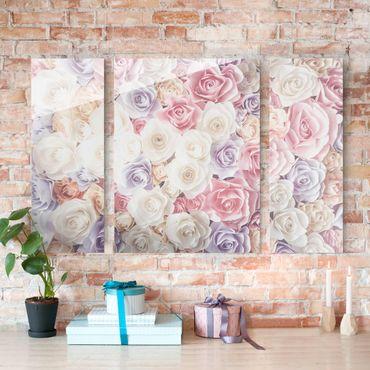 Quadro in vetro - Pastel Paper Art roses - 3 parti