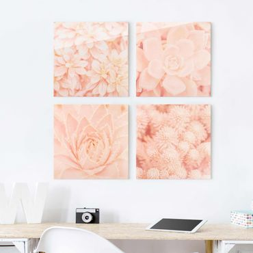 Quadro in vetro - Pink Flower Magic - 4 parti set