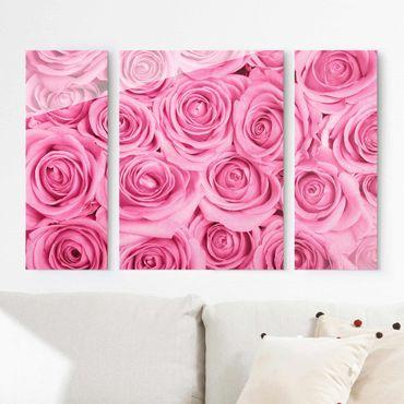 Quadro in vetro - Pink Roses - 3 parti