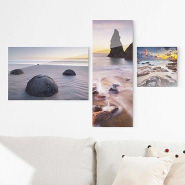 Quadro in vetro - Sunrises on the beach - Collage a 3 parti