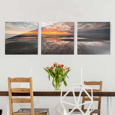 Quadro in vetro - Sunrise Over The Mudflat - 3 parti