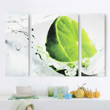 Quadri in vetro - Splash Lime - Collage a 3 parti