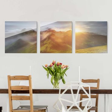 Quadro in vetro - Storkonufell In Sunrise - 3 parti