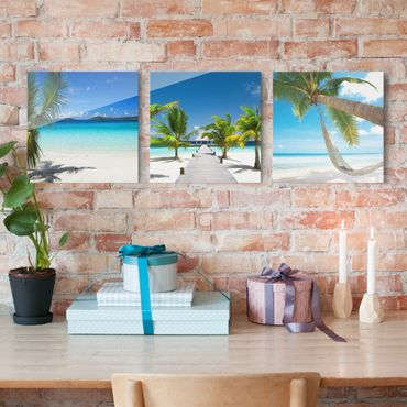 Quadro in vetro - Dream beaches - 3 parti