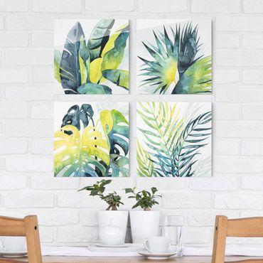 Quadro in vetro - Vegetazione tropicale Set I - 4 parti set