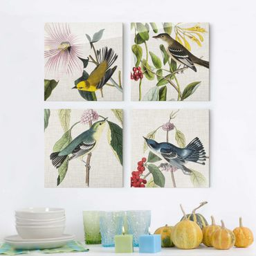 Quadro in vetro - Uccelli su lino Set II - 4 parti set