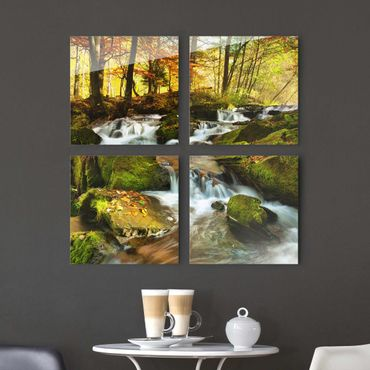 Quadro in vetro - Waterfall autumn forest - 4 parti