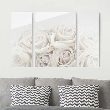Quadro in vetro - White Roses - 3 parti