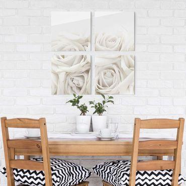 Quadro in vetro - White Roses - 4 parti