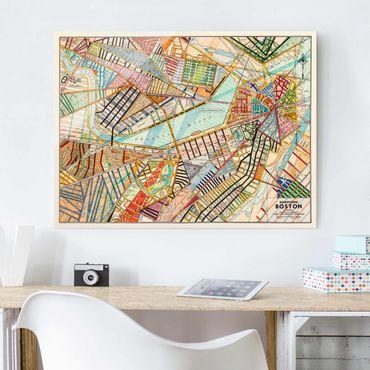 Quadro in vetro - Mappa Moderna Di Boston - Large 3:4