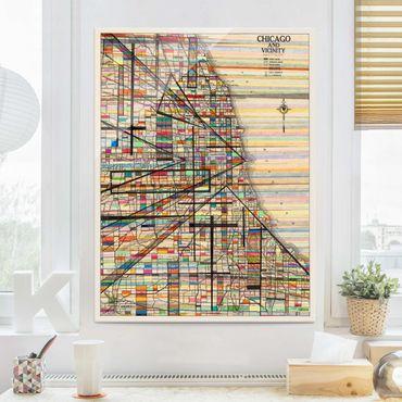 Quadro in vetro - Mappa Moderna Di Chicago - Verticale 3:4