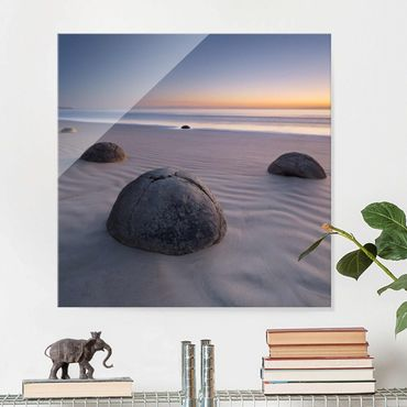 Quadro in vetro - Moeraki Boulders New Zealand - Quadrato 1:1