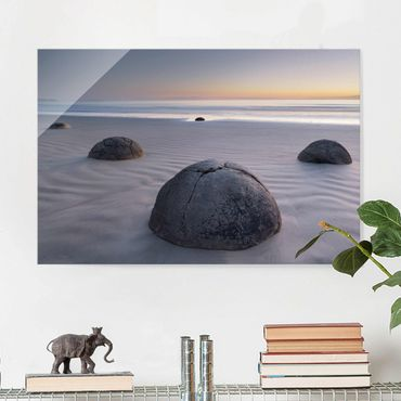 Quadro in vetro - Moeraki Boulders New Zealand - Orizzontale 3:2