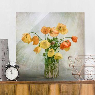 Quadro in vetro - Papaveri in un Vaso - Quadrato 1:1