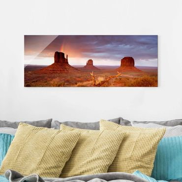 Quadro in vetro - Monument Valley at sunset - Panoramico