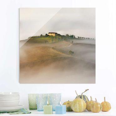 Quadro in vetro - Nebbia Mattutina in Toscana - Quadrato 1:1