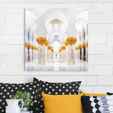 Quadro in vetro - Moschea in Oro - Quadrato 1:1
