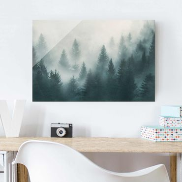 Quadro in vetro - Coniferous Forest In Fog - Orizzontale 3:2
