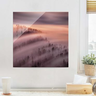 Quadro in vetro - Nebbia Flood - Quadrato 1:1