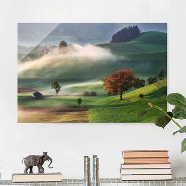 Quadro in vetro - Misty Autumn Day Svizzera - Orizzontale 3:2