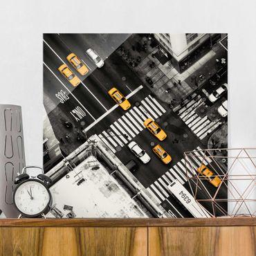 Quadro in vetro - I taxi di New York - Quadrato 1:1