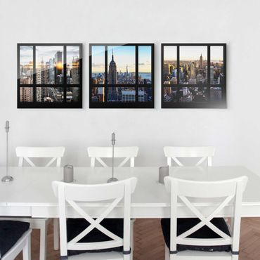 Quadro in vetro - New York Skyline - Window views of New York - 3 parti