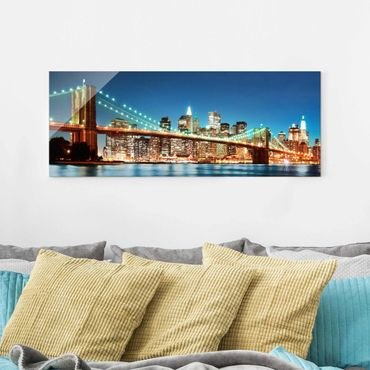 Quadro in vetro - Nighttime Manhattan Bridge - Panoramico