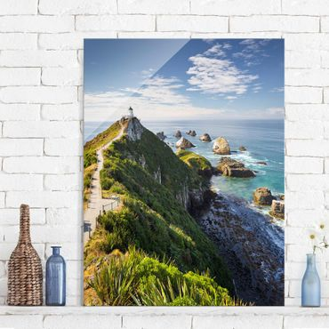 Quadro in vetro - Nugget Point Lighthouse and sea Zealand - Orizzontale 3:2