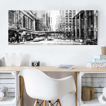 Quadro in vetro - NYC Urban black-white - Panoramico