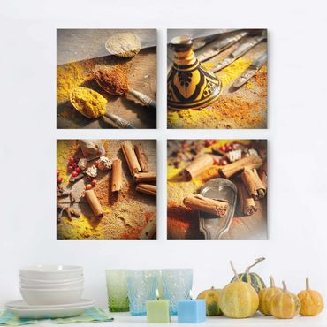 Quadro in vetro - Oriental Spices - 4 parti