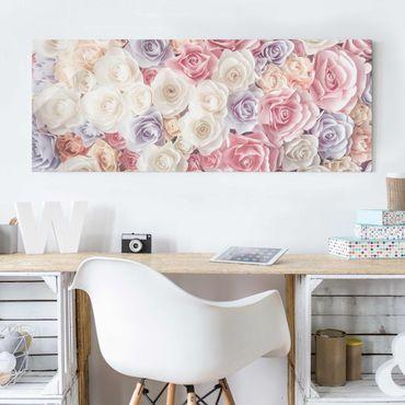 Quadro in vetro - Pastel Paper Art Roses - Panoramico
