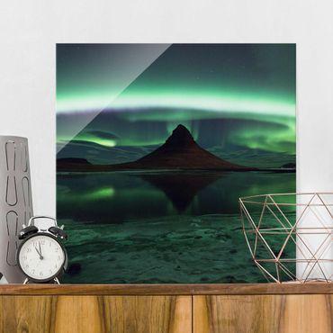 Quadro in vetro - Aurora polare in Islanda - Quadrato 1:1