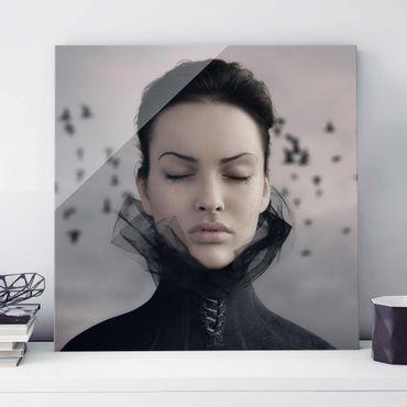 Quadro in vetro - Portrait of a weeping woman - Quadrato 1:1