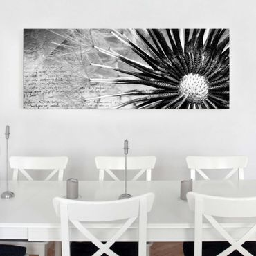 Quadro in vetro - Dandelion Black & White - Panoramico