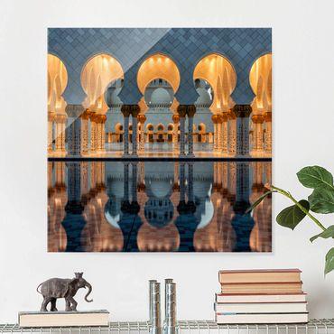 Quadro in vetro - Riflessione in Moschea - Quadrato 1:1