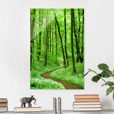 Quadro in vetro - Romantic Forest Track - Verticale 2:3