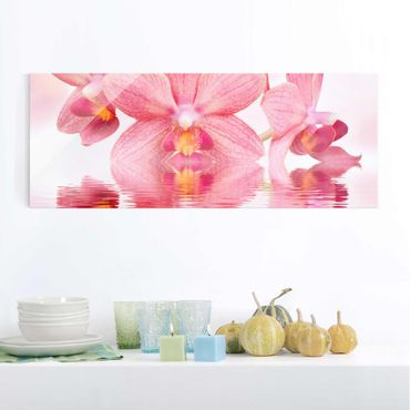 Quadro in vetro - Pink Orchid on water - Panoramico