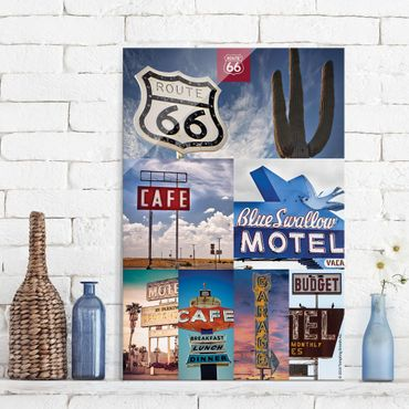 Quadro in vetro - Route 66 - Collage Blue Motel - Verticale 2:3