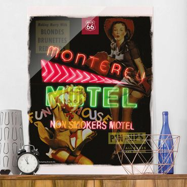 Quadro in vetro - Route 66 - Pin-up Monterey - Verticale 3:4