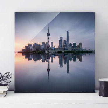 Quadro in vetro - Skyline di Shanghai Mattina Mood - Quadrato 1:1