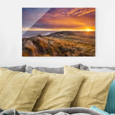 Quadro in vetro - Sunrise on the beach on Sylt - Orizzontale 3:2