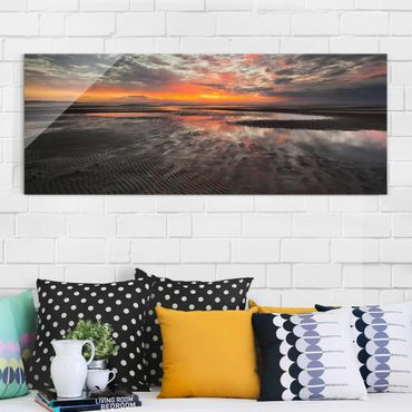 Quadro in vetro - Sunrise Over The Mudflat - Panoramico
