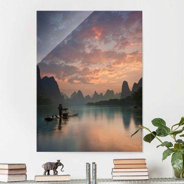 Quadro in vetro - Alba sul fiume cinese - Verticale 3:4